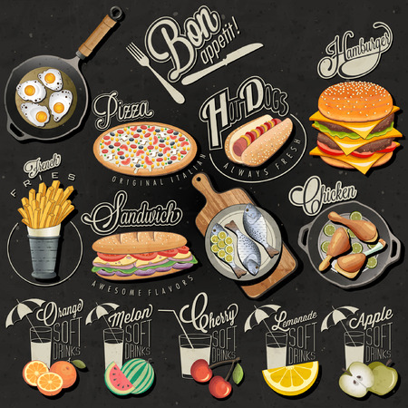 Retro vintage style fast food and drinks designs. Set of Calligraphic titles and symbols for food and drinks. Realistic illustration. Creative vector. Bon appetite! Illustration