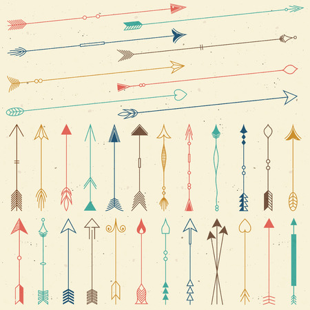 Hipster arrows collection. Big set of hand drawn, hipster arrows. Set of indian style arrows. Arrow for all design. Indian elements.