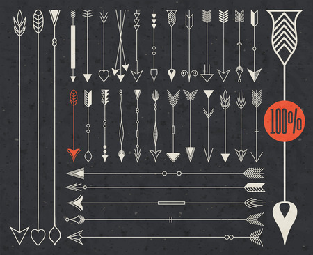 Hipster arrows collection. Big set of hand drawn arrows. Set of Indian style arrows. Arrow for all design. Indian elements. Valentines Day