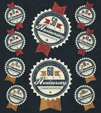 jubilees: Anniversary sign collection and cards design in retro style. Template of anniversary, jubilee or birthday card with number editable. Vintage typography.