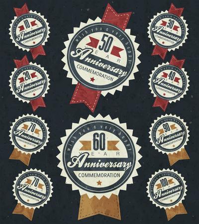 aniversario: Colecci�n de la muestra de aniversario y tarjetas de dise�o de estilo retro. Plantilla del aniversario, jubileo o tarjeta de cumplea�os con el n�mero editable. tipograf�a de �poca.