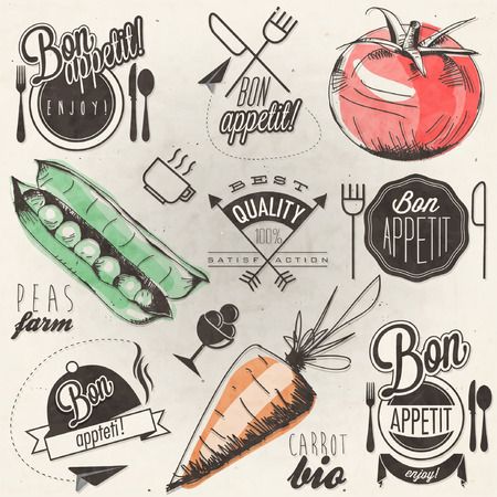 Bon Appetit! Enjoy your meal! Retro vintage style hand drawn typographic symbols for restaurant menu design. Set of Calligraphic titles and symbols.  illustrationaa 矢量图像
