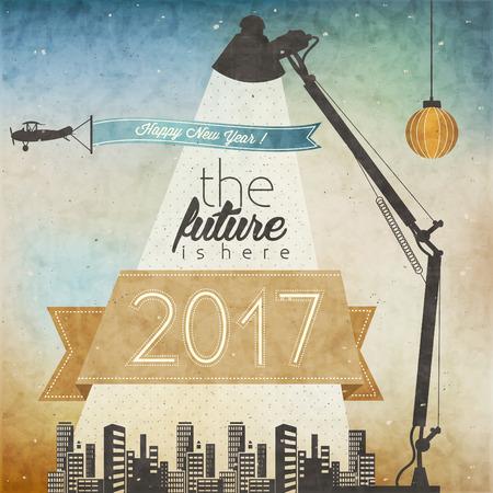estilo: Tarjeta de fin de año de la vendimia. Retro estilo de dibujos animados de Año Nuevo saludos ilustración. Del ejemplo de la postal de Navidad. tarjeta de felicitación de 2017 años nuevo. Feliz año nuevo 2017. Ilustración futurista.