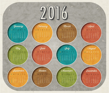 abstract calendar 2016 Retro vintage style calendar design with airplane cartoon illustration. Template for 2016 calendar