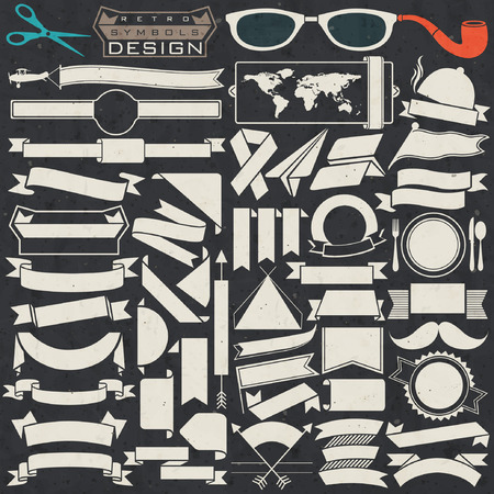 Black and white ribbons collection. Set of Retro vintage style template for all design. Objects silhouettes.