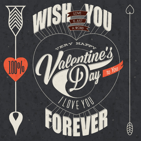 Happy Valentine's Day lettering in vintage styled design. Retro greeting card for Valentine's day. Valentine's vintage typographic design. Hipster style