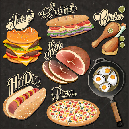 Retro vintage style fast food designs. Set of Calligraphic titles and symbols for foods. Pizza, Sandwich, Hot Dog, French Fries, Hamburger, Cheeseburger and Drumstick, Ham realistic illustrations.