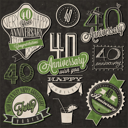 Vintage style 40 anniversary collection. Forty anniversary design in retro style. Vintage labels for anniversary greeting. lettering style typographic and calligraphic symbols for 40 anniversary.