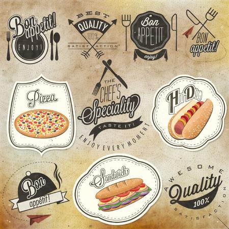 Bon Appetit! Enjoy your meal! Retro vintage style  typographic symbols for restaurant menu design. Set of Calligraphic titles and symbols. Ham , hot dog and sandwich realistic illustration.