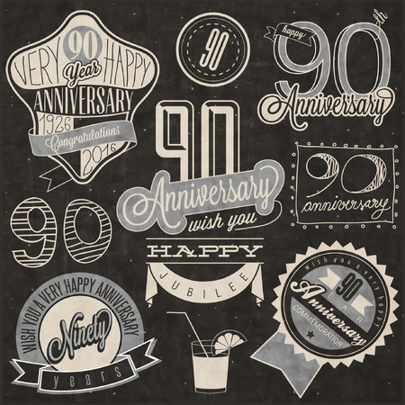 Vintage style ninetieth anniversary collection. Ninety anniversary design in retro style. Vintage labels for anniversary greeting. lettering style typographic and calligraphic design elements 矢量图像