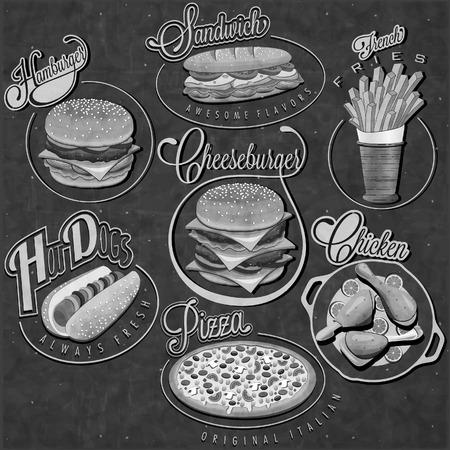 Retro vintage stijl fastfood ontwerpen. Set van kalligrafische titels en symbolen voor voedingsmiddelen. Pizza, Sandwich, Hotdog, frietjes, Hamburger, Cheeseburger en drumstick realistische illustraties.