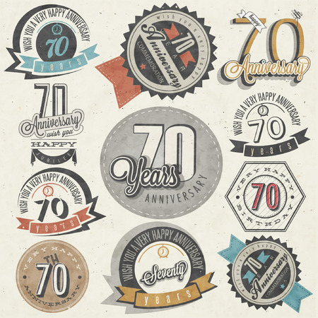 seventy: Vintage style Seventy anniversary collection. Retro Seventy anniversary design. Vintage labels for anniversary greeting. lettering style typographic and calligraphic symbols for Seventieth