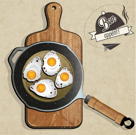 fried foods: Retro vintage style Fried Frying Pan with Eggs. The most popular foods. Realistic frying pan and fried eggs illustrations.