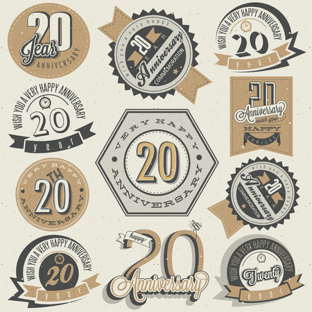 Vintage 20 anniversary collection. Twenty anniversary design in retro style. Vintage labels for anniversary greeting. lettering style typographic and calligraphic symbols for 20 anniversary.