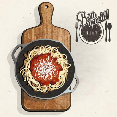 cutting board: Retro vintage style spaghetti specialties with Cutting Board. Bon appetite. Illustration