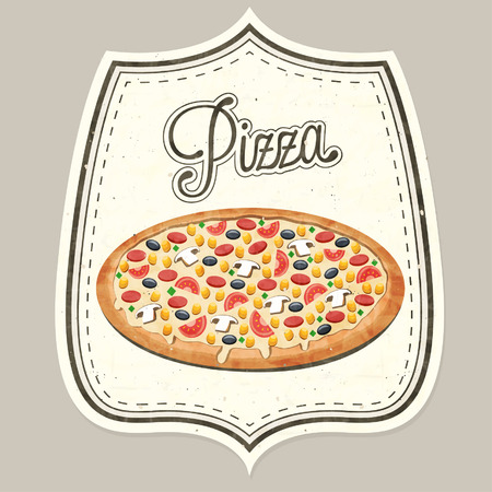 Retro vintage style realistic Pizza illustration.