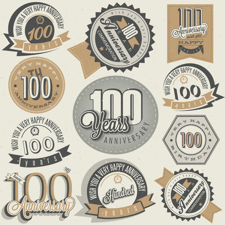 centenary: Vintage style One Hundred anniversary collection. Retro Hundred anniversary design. Vintage labels for anniversary greeting. lettering style typographic and calligraphic symbols for Centenary