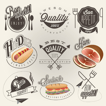 Bon Appetit! Enjoy your meal! Retro vintage style hand drawn typographic symbols for restaurant menu design. Set of Calligraphic titles and symbols. Ham , hot dog and sandwich realistic illustration. 矢量图像