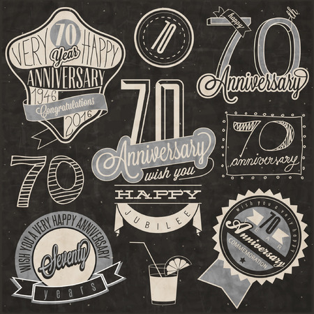seventieth: Vintage style Seventy anniversary collection. Retro Seventy anniversary design. Vintage labels for anniversary greeting. lettering style typographic and calligraphic symbols for Seventieth