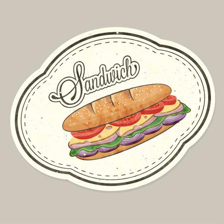 Retro vintage style realistic Sandwich illustration. 矢量图像