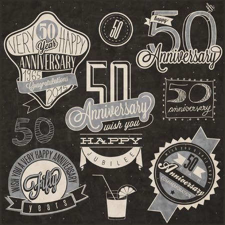Vintage style 50 anniversary collection. Fifty anniversary design in retro style. Vintage labels for anniversary greeting. lettering style typographic and calligraphic symbols for 50 anniversary.