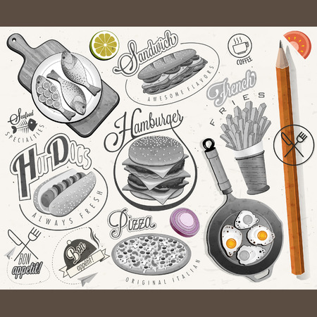 Retro vintage style fast food designs. Set of Calligraphic titles and symbols for foods.