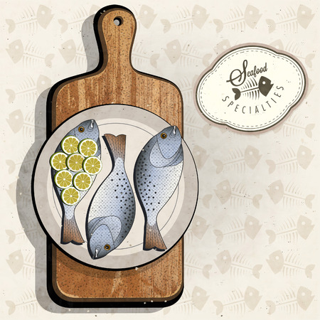old style retro: Retro vintage style Fish specialties with Cutting Board. Realistic fish and old cutting board illustration. Old fashioned pester.