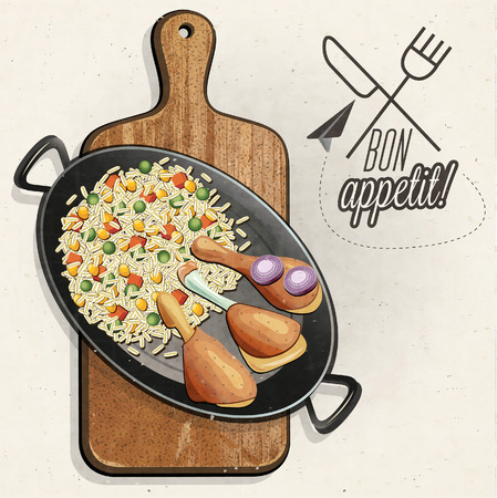 Rustic menu illustration. Retro vintage style Chicken Thighs with Rice in one old Pan. The Chef Specialty. Realistic drumstick and rice food. Bon appetite Illustration