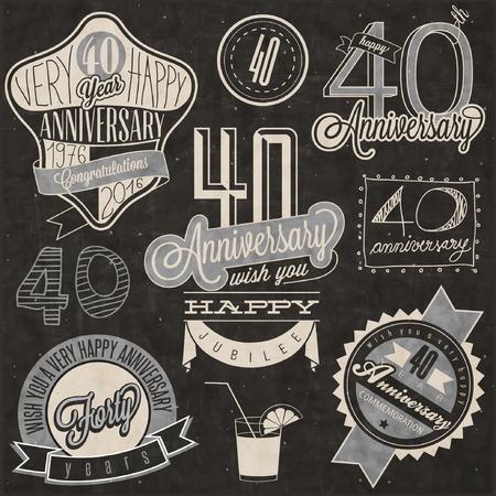 Vintage-Stil 40 Jahrestag Sammlung. Vierzig Jahrestag Design im Retro-Stil. Vintage-Etiketten für Jahrestag Gruß. Beschriftungsart typographische und kalligraphisches Symbole für 40-jähriges Bestehen. Illustration