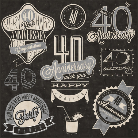 40 years: Vintage style 40 anniversary collection. Forty anniversary design in retro style. Vintage labels for anniversary greeting. lettering style typographic and calligraphic symbols for 40 anniversary.