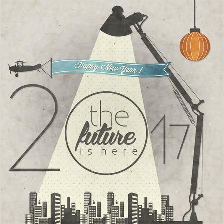 year greetings: Vintage New Years Eve Card. Retro cartoon style New Year greetings illustration. Vintage Christmas Postcard Illustration. New 2017 year greeting card. Happy new Year 2017. Futuristic illustration. Illustration