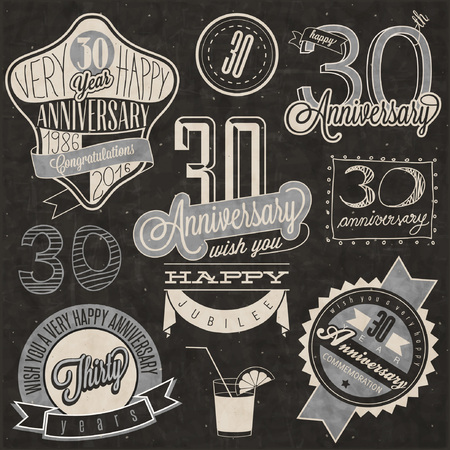 Vintage style 30 anniversary collection. Thirty anniversary design in retro style. Vintage labels for anniversary greeting. lettering style typographic and calligraphic symbols for 30 anniversary