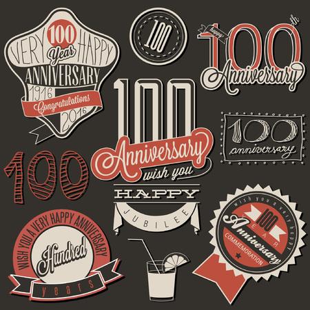 Vintage-Stil Hundert Jubiläumskollektion. Retro hundert Jahre Design. Vintage-Etiketten für Jahrestag Gruß. Hand-Schriftzug Stil typographische und kalligraphisches Symbole für Centenary