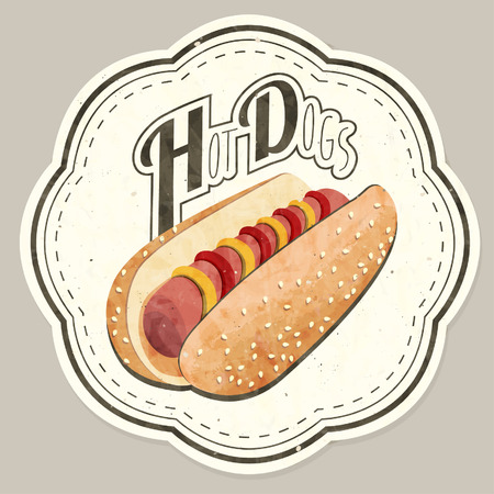 Retro vintage style realistic Hot Dog illustration.