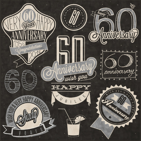 Vintage style 60th anniversary collection. Sixty anniversary design in retro style. Vintage labels for anniversary greeting. lettering style typographic and calligraphic