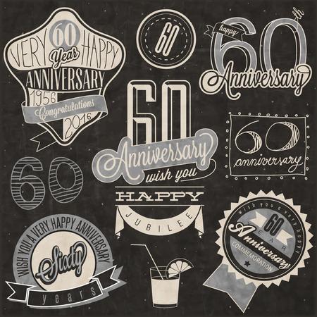 60. Jahrestag Kollektion Vintage-Stil. Sechzig Jahrestag Design im Retro-Stil. Vintage-Etiketten für Jahrestag Gruß. Beschriftungsart typographische und kalligraphischer Standard-Bild - 55828483