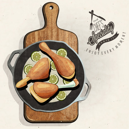 specialty: Rustic menu illustration. Retro vintage style Chicken in one old Pan. The Chef Specialty. Bon appetite.