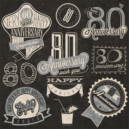 Vintage style 80th anniversary collection. Eighty anniversary design in retro style. Vintage labels for anniversary greeting. lettering style typographic and calligraphic symbols for anniversary
