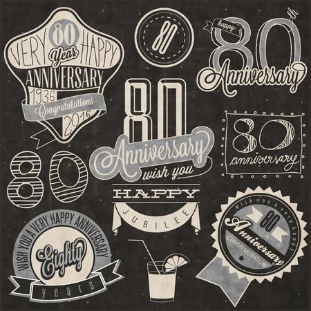 80. Jahrestag Kollektion Vintage-Stil. Achtzig Jahrestag Design im Retro-Stil. Vintage-Etiketten für Jahrestag Gruß. Beschriftungsart typographische und kalligraphisches Symbole für Jubiläum