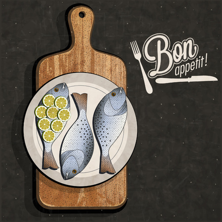 Retro vintage style Fish specialties with Cutting Board. Realistic fish and old cutting board illustration. Old fashioned pester.