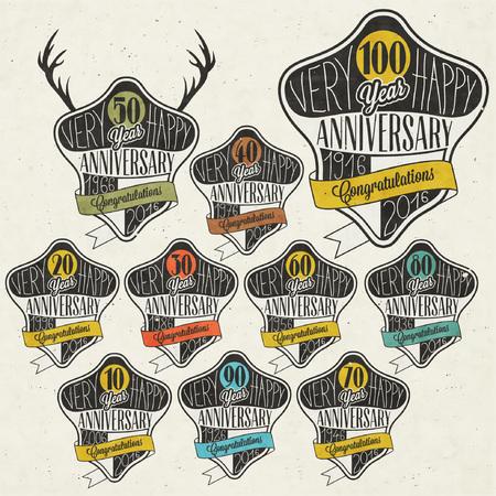 Jahrestag Schild-Sammlung und Karten-Design im Retro-Stil. Vorlage des Jahrestages, Jubiläum oder Geburtstagskarte mit der Nummer editierbar. Jahrgang Typografie. Deer Silhouette