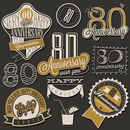 Colección 80 aniversario estilo de época. El ochenta aniversario de diseño de estilo retro. etiquetas de la vendimia para el saludo del aniversario. estilo de letra tipográfica y símbolos caligráficos para el aniversario