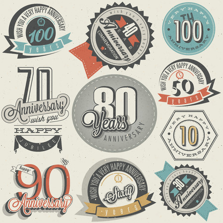 Anniversary sign collection and cards design in retro style. Template of anniversary, jubilee or birthday card with number editable. Vintage typography.