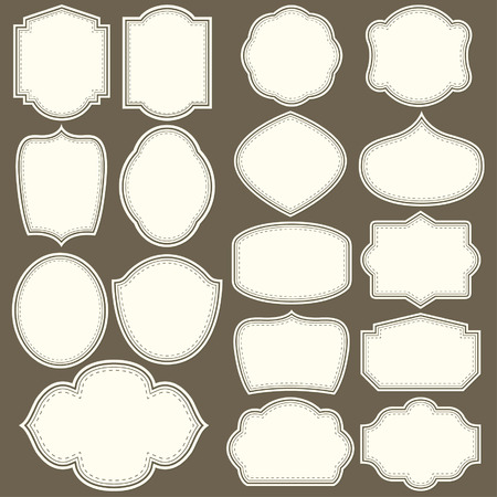 Labels shapes for all design. Blank labels set. Tag silhouettes collection 免版税图像 - 55828490