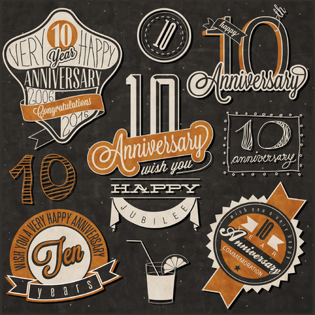 Vintage style 10 anniversary collection. Ten anniversary design in retro style. Vintage labels for anniversary greeting. lettering style typographic and calligraphic symbols for 10 anniversary.