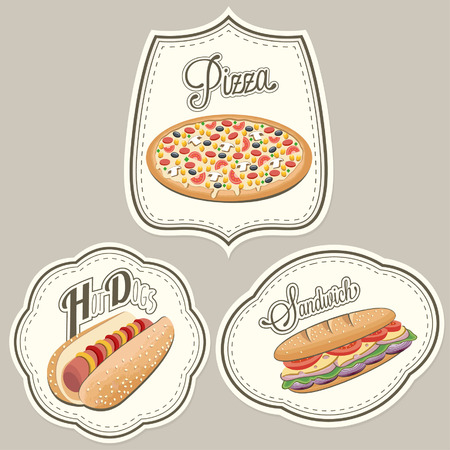 Retro vintage style fast food designs. Set of Calligraphic titles and symbols for foods. lettering style. Pizza, Sandwich and Hot Dog realistic illustrations. Old fashioned fast food collection. 矢量图像