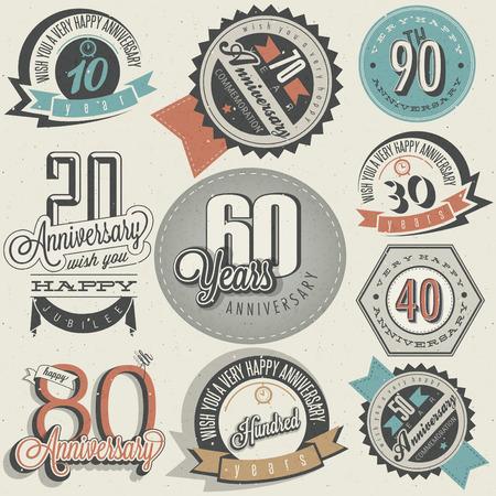 Jahrestag Schild-Sammlung und Karten-Design im Retro-Stil. Vorlage des Jahrestages, Jubiläum oder Geburtstagskarte mit der Nummer editierbar. Jahrgang Typografie.