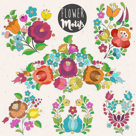Ungarischen traditionellen Blumendekoration. Vintage, Stil Blume-Elemente. Aquarell-Stil Standard-Bild - 61048389