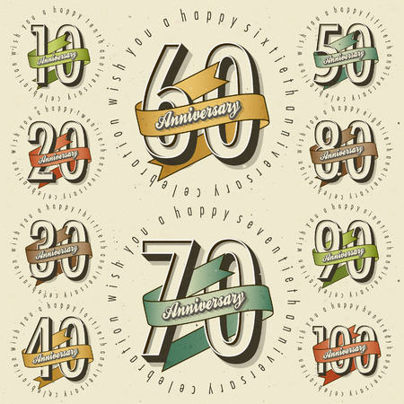 Jahrestag Schild-Sammlung und Karten-Design im Retro-Stil. Vorlage des Jahrestages, Jubiläum oder Geburtstagskarte mit der Nummer editierbar. Jahrgang Typografie. Standard-Bild - 65453099