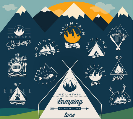 camping site: Retro vintage style symbols for Mountain Expedition: Adventure, Camping, Hunting, Tour, Foods, Camping site, Camping Grill, Biking Tours. Mountain feeling.  Symbols for mountain background. Illustration
